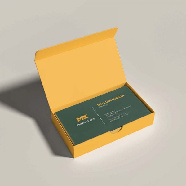 Business card mockup with a yellow open box